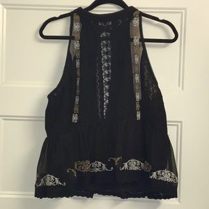 Black and Tan Embroidered Peplum Blouse
